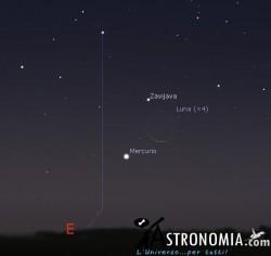 Congiunzione Luna - Mercurio, giorno 11 ore 6:30