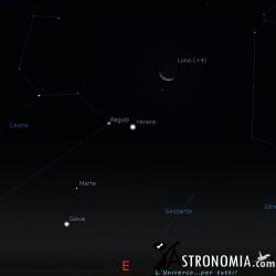 Congiunzione Luna - Venere, giorno 8 ore 5