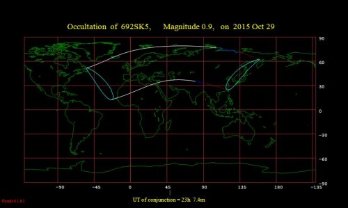 la mappa di visibilità dell'occultazione lunare