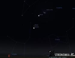 Congiunzione Luna - Giove, giorno 6 ore 5