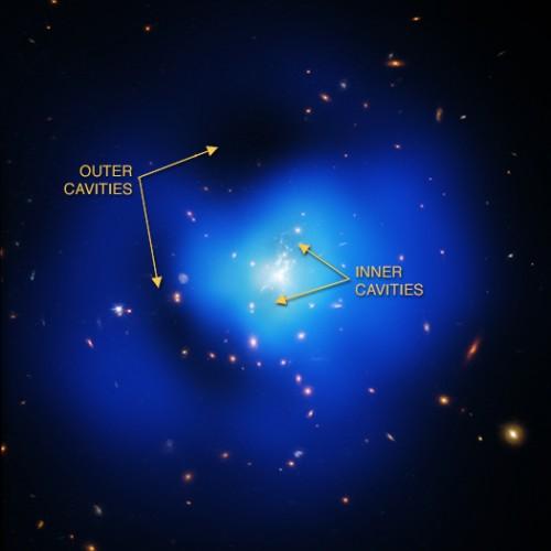 Immagine ottenuta dalla sovrapposizione di dati nei raggi X (blu) e nella banda ottica (rosso, verde e azzurro). Crediti: per l'ottico, NASA/STScI; per i dati X, NASA/CXC/MIT/M.McDonald et al
