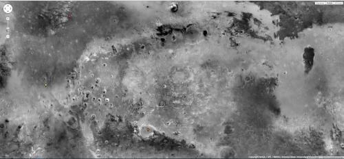 la superficie di Marte con 3 location