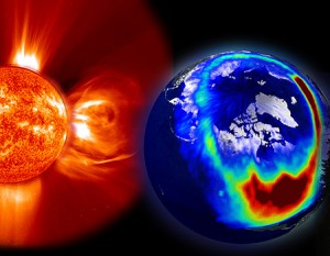 Impressione d'artista di una tempesta solare Credits: Meteoweb