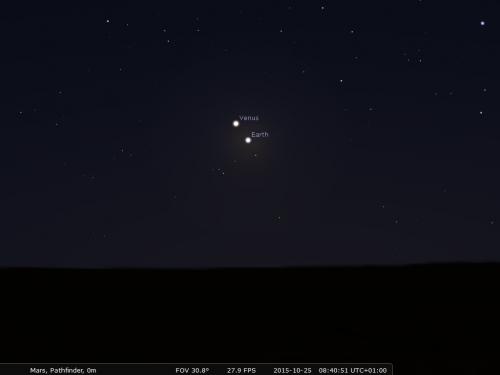 I pianeti interni Venere e Terra visti da Marte