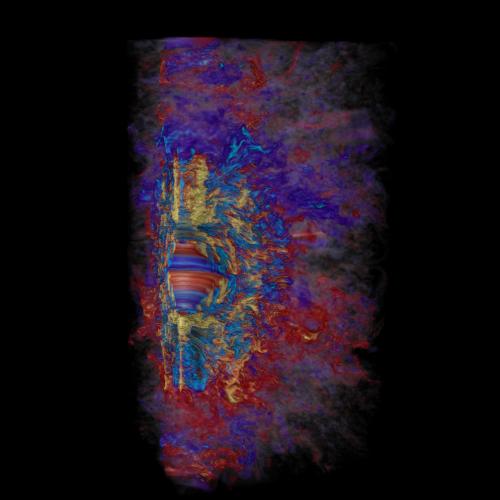 La figura mostra un momento della simulazione del campo magnetico toroidale in una stella massiccia collassata, dove in appena 10 millisecondi la rapida rotazione differenziale amplifica il campo magnetico stellare fino a portarlo a valori dell'ordine di milioni di miliardi di volte quello del Sole (in giallo valori positivi, in azzurro valori negativi). Rosso e blu rappresentano campi magnetici più deboli positivi e negativi, rispettivamente. Credit: Robert R. Sisneros (NCSA) e Philipp Mösta