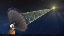 Rappresentazione artistica della rilevazione di un Fast Radio Burst (FRB). I FRB sono lampi improvvisi e di breve durata nella banda radio, e sono quindi fenomeni che potranno essere rilevati grazie alla nuova tecnica. Crediti: Swinburne Astronomy Productions