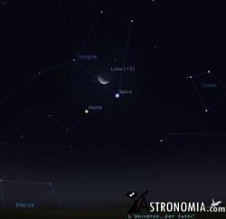 Congiunzione Luna - Marte, giorno 3 ore 4