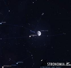 Congiunzione Luna - Pleiadi, giorno 19 ore 19