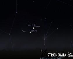Congiunzione Luna - Venere - Saturno,, giorno 7 ore 6