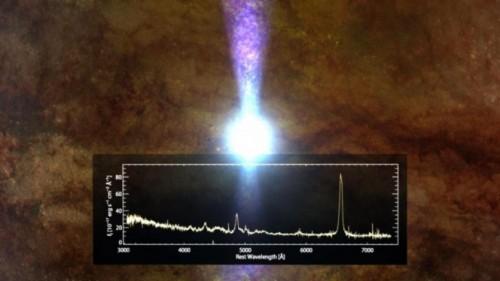 """L'immagine mostra la rappresentazione artistica del """"quasar che cambia aspetto"""" come è apparso nei primi mesi del 2015. La regione blu incandescente indica l'ultima porzione di gas mentre viene inghiottita dal buco nero centrale. Lo spettro sovrapposto è quello ottenuto dalla SDSS nel 2003. Crediti: Dana Berry/Skyworks Digital, Inc."""