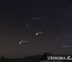 Congiunzione Luna - Venere - Mercurio, giorno 6 ore 6