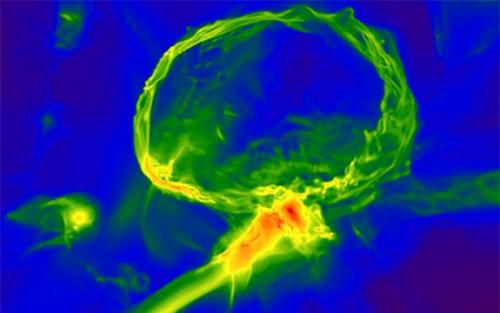 L'immagine mostra una delle prime stelle esplose nell'Universo: si vede un guscio di gas in espansione (in alto), e un filamento di gas più grande (al centro). La scala dell'immagine è di 3.000 anni luce. Il rosso indica una maggiore densità del gas. Crediti: Britton Smith, John Wise, Brian O'Shea, Michael Norman, and Sadegh Khochfar