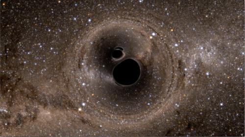 Le fusioni tra buchi neri (simulata nell'immagine) sono ritenute forti sorgenti di onde gravitazionali.