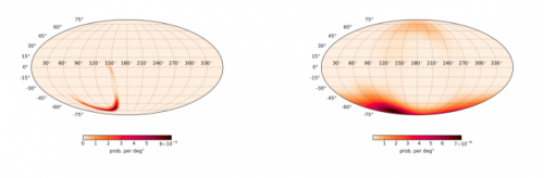 Mappa celeste con la localizzazione dei raggi gamma rilevati da Fermi (a destra) e della sorgente di onde gravitazionali rilevata dai due interferometri di LIGO (a sinistra). Crediti: Connaughton et al. The Astrophysical Journal.