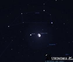 Congiunzione Luna - Giove, giorno 17 ore 21:30