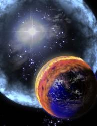 Rappresentazione artistica d'un raggio gamma mentre investe l'atmosfera terrestre .Crediti: NASA