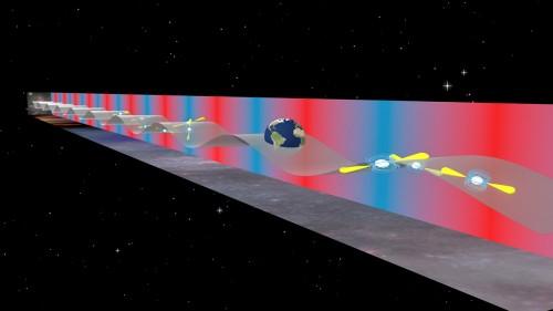 La Terra è continuamente in balia di onde gravitazionali a bassa frequenza prodotte da sistemi binari di buchi neri supermassicci nel cuore di galassie remote. Gli astrofisici utilizzano le pulsar come se fossero un rivelatore dalle dimensioni equivalenti a quelle d'un'intera galassia per misurare il movimento indotto da queste onde sul nostro pianeta. Crediti: B. Saxton (NRAO / AUI / NSF)