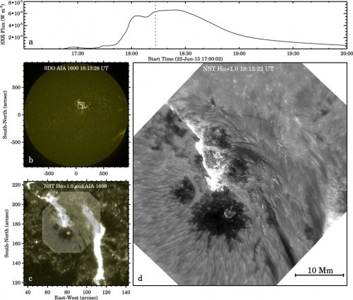 Ripresa del telescopio NST (a dx) confrontata con quella del satellite SDO (a sx). Crediti: NJTI