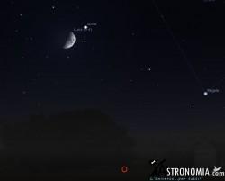 Congiunzione Luna - Giove, giorno 11 ore 23