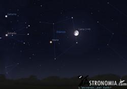 Congiunzione Luna - Marte, giorno 17 ore 2
