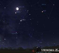 Congiunzione Luna - Saturno, giorno 18 ore 23
