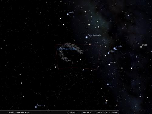 la Corona Australe secondo Stellarium