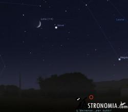 Congiunzione Luna - Giove, giorno 9 ore 22:00