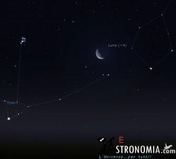 Congiunzione Luna - Pleiadi, giorno 28 ore 02:30