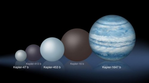 Confronto tra le dimensioni relative dei diversi pianeti circumplanetari scoperti da Kepler, dal più piccolo, Kepler-47 b, al più grande, Kepler-1647 b. Crediti: Lynette Cook
