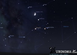 congiunzione Luna  - Saturno, giorno 12 ore 22