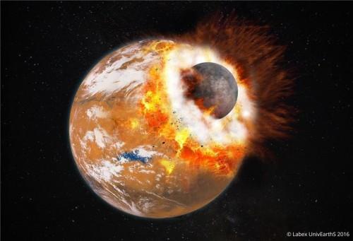 Rappresentazione artistica dell'impatto gigante che avrebbe originato Phobos e Deimos, così come il bacino Borealis di Marte. Crediti: Université Paris Diderot / Labex UnivEarthS 2016