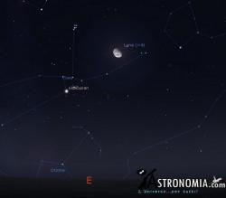 Congiunzione Luna - Pleiadi, giorno 21 ore 00:30