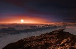 Rappresentazione artistica della superficie del pianeta Proxima b in orbita attorno alla nana rossa Proxima Centauri, la stella più vicina al Sistema solare. In alto a destra rispetto a quest'ultima, s'intravede anche la stella doppia Alpha Centauri AB. Crediti: ESO/M. Kornmesser