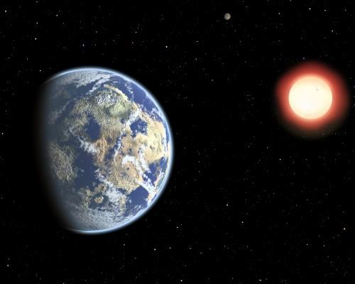 In questa rappresentazione artistica, una coppia di pianeti abitabili in orbita attorno a una nana rossa. Poiché le nane rosse sono molto longeve, la probabilità che attorno a esse si sviluppi la vita cresce nel tempo. Di conseguenza, la vita terrestre potrebbe essere considerata precoce. Crediti: Christine Pulliam (CFA)