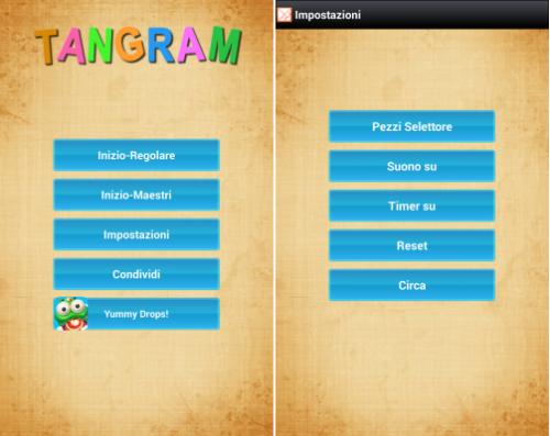 menu del giocho Tangram per android
