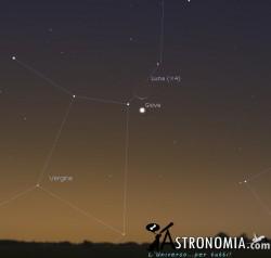 Congiunzione Luna - Giove, giorno 28 ore 6:30