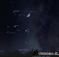 Congiunzione Luna - Marte, giorno 8 ore 21