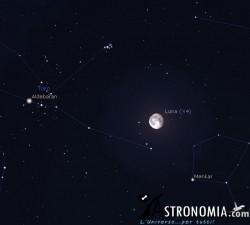 Congiunzione Luna - Pleiadi, giorno 18 ore 2:30