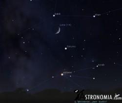 Congiunzione Luna - Saturno, giorno 6 ore 20