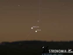Congiunzione Mercurio - Giove, giorno 11 ore 6:30