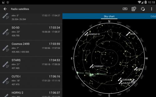 mappa stellare piena di satelliti per telecomunicazione e altri scopi