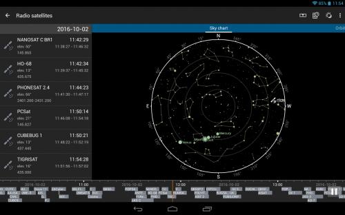 la scala temporale con indicati alcuni satelliti in vista al momento