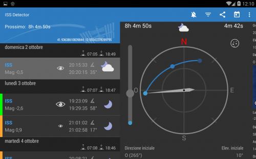 una pagina di $ISS$ Detector con il passaggio della $ISS$