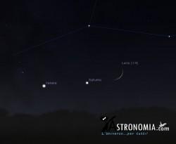 Congiunzione Luna - Saturno - Venere, giorno  2 ore 18