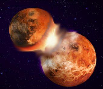 Illustrazione dell'ipotesi dell'impatto gigante. Un corpo celeste delle dimensioni di Marte colpì la primitiva Terra dalla cui collisione avrebbe avuto origine la Luna. Crediti: Hagai Perets