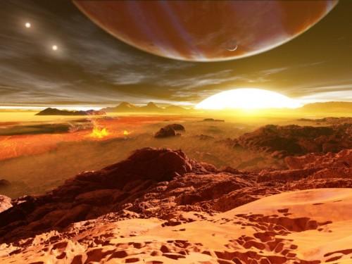altra rappresentazione artistica molto fantasiosa del sistema stellare
