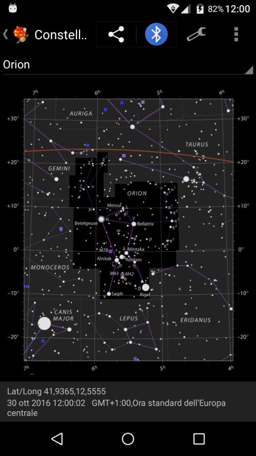 diagramma con la mappa di Orione