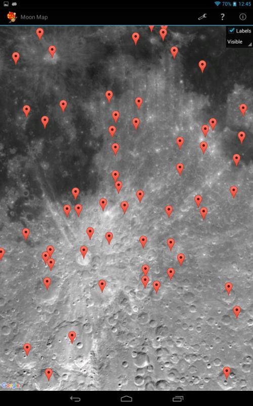 """mappa lunare di Google con le """"paperelle"""""""