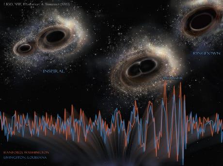 In alto, raffigurazione dei due buchi neri che hanno dato origine alle onde gravitazionali registrate da LIGO. In basso, tracciati delle registrazioni realizzate nei due osservatori di LIGO, a Livingston e a Hanford, negli Stati Uniti. (Cortesia  LIGO, NSF, Aurore Simonnet (Sonoma State U.)