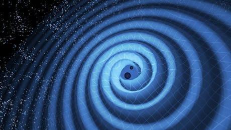 Illustrazione delle onde gravitazionali prodotte dalla fusione di due buchi neri. (Cortesia LIGO/T. Pyl)